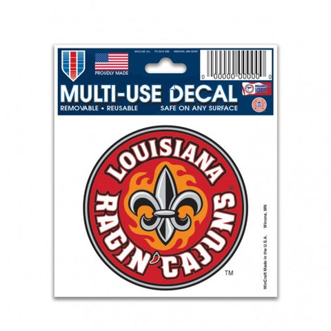 "Louisiana Ragin Cajuns Circle Logo 3"" x 4"" Multi Use Decal Window, Car or Laptop!"