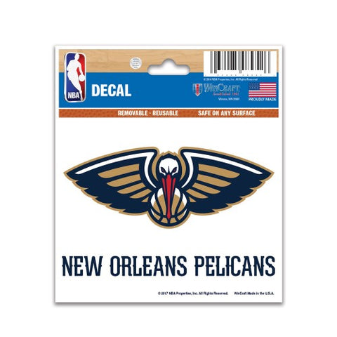 "New Orleans Pelicans 3"" x 4"" Multi Use Decal Window, Car or Laptop!"