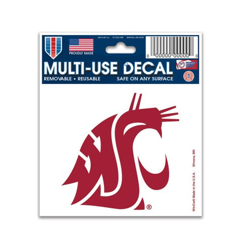 "Washington State Cougars 3"" x 4"" Multi Use Decal Window, Car or Laptop!"