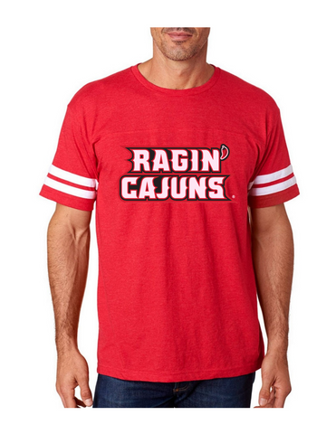 Louisiana Ragin Cajuns Mens Short Sleeve T-Shirt Lafayette Stripes