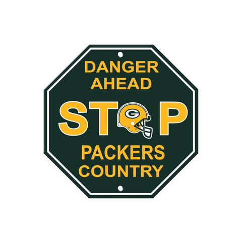 "Green Bay Packers Stop Sign NEW! 12""X12"" ""Danger Ahead"" Man Cave NFL"