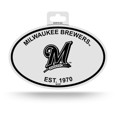 Milwaukee Brewers Oval Decal Sticker NEW!! 3 x 5 Inches Free Shipping Black & White