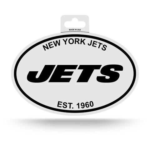 New York Jets Oval Decal Sticker NEW!! 3 x 5 Inches Free Shipping Black & White