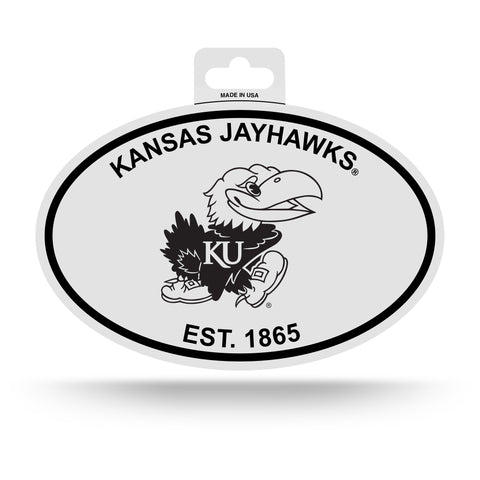 Kansas Jayhawks Oval Decal Sticker NEW!! 3 x 5 Inches Free Shipping Black & White