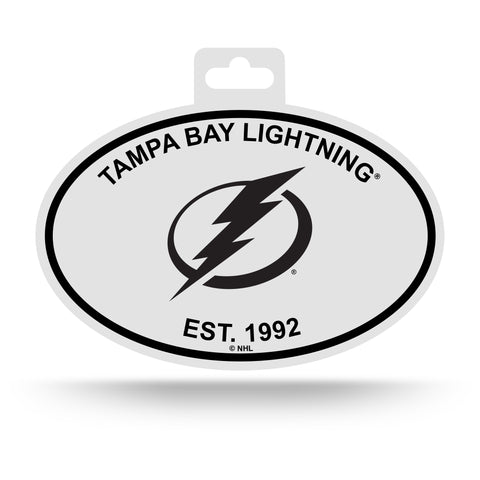 Tampa Bay Lightning Oval Decal Sticker NEW!! 3 x 5 Inches Free Shipping Black & White