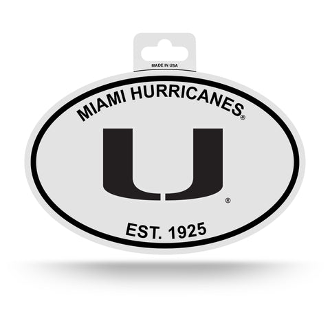 Miami Hurricanes Oval Decal Sticker NEW!! 3 x 5 Inches Free Shipping Black & White