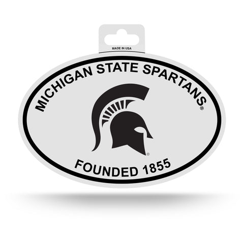 Michigan State Spartans Oval Decal Sticker NEW!! 3 x 5 Inches Free Shipping Black & White