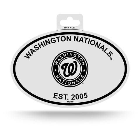 Washington Nationals Oval Decal Sticker NEW!! 3 x 5 Inches Free Shipping Black & White