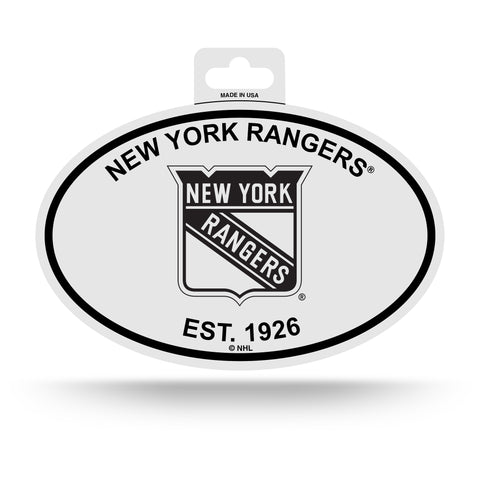 New York Rangers Oval Decal Sticker NEW!! 3 x 5 Inches Free Shipping Black & White