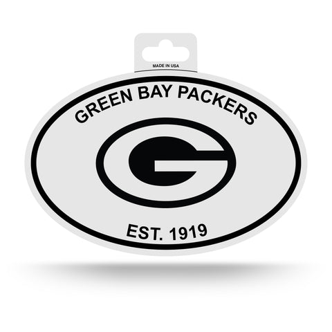 Green Bay Packers Oval Decal Sticker NEW!! 3 x 5 Inches Free Shipping Black & White