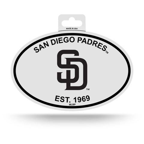 San Diego Padres Oval Decal Sticker NEW!! 3 x 5 Inches Free Shipping Black & White