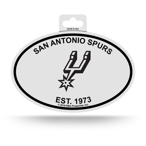 San Antonio Spurs Oval Decal Sticker NEW!! 3 x 5 Inches Free Shipping Black & White