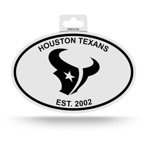 Houston Texans Oval Decal Sticker NEW!! 3 x 5 Inches Free Shipping Black & White