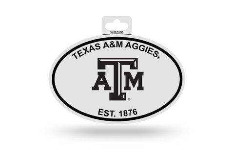 Texas A&M Aggies Oval Decal Sticker NEW!! 3 x 5 Inches Free Shipping Black & White