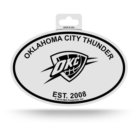 Oklahoma City Thunder Oval Decal Sticker NEW!! 3 x 5 Inches Free Shipping Black & White