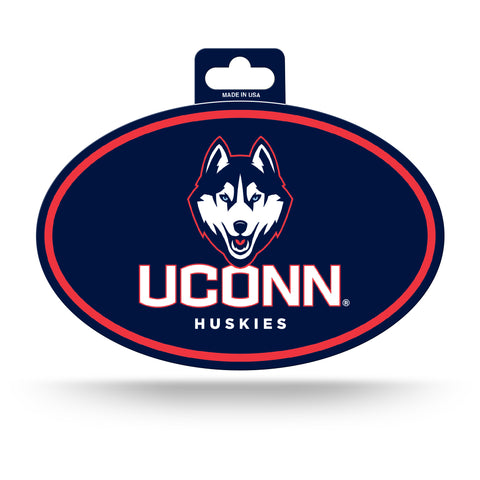 UCONN Huskies Oval Decal Full Color Sticker NEW!! 3 x 5 Inches Free Shipping