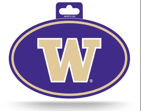 Washington Huskies Oval Decal Full Color Sticker NEW!! 3 x 5 Inches Free Shipping