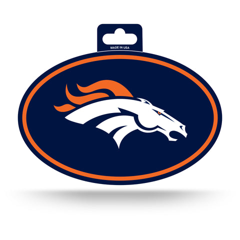 Denver Broncos Oval Decal Full Color Sticker NEW!! 3 x 5 Inches Free Shipping