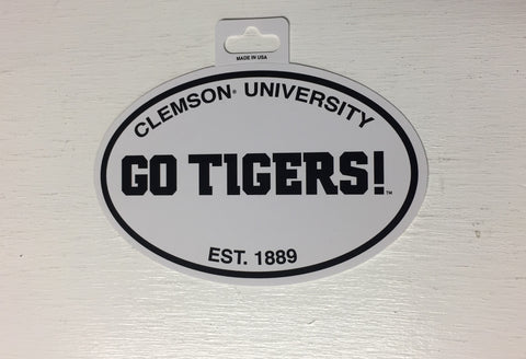 Clemson Tigers Oval Decal Sticker NEW!! 3 x 5 Inches Free Shipping Black & White