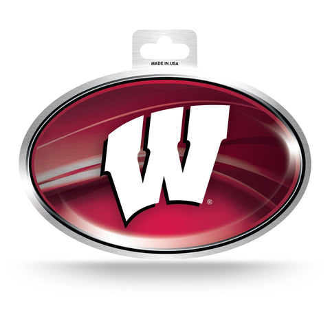 Wisconsin Badgers Metallic Oval Decal Full Color Sticker NEW!! 3 x 5 Inches Free Shipping
