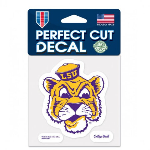 LSU Tigers Retro Logo Die Cut Decal Stickers Perfect Cut 6x7 inches