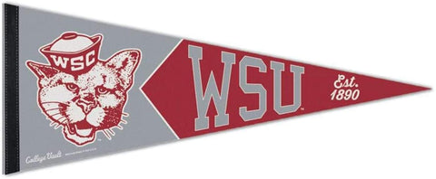 Washington State Cougars Retro Logo Premium Pennant Felt Wool NEW!! Free Shipping 12x30 Inches