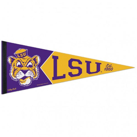 LSU Tigers Retro Logo Premium Pennant Felt Wool NEW!! Free Shipping