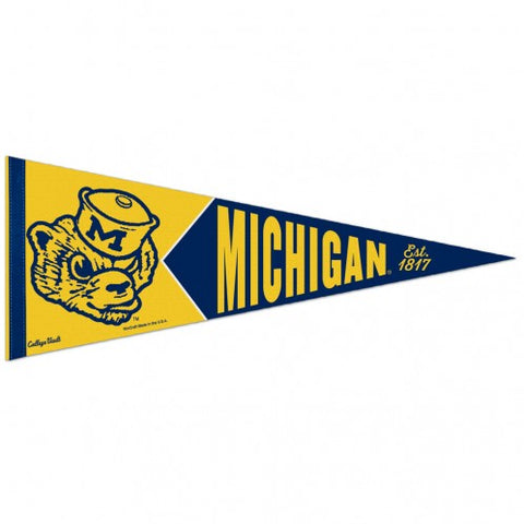 Michigan Wolverines Retro Logo Premium Pennant Felt Wool NEW!! Free Shipping