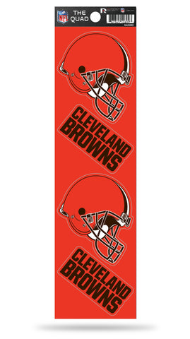 Cleveland Browns Set of 4 Decals Stickers The Quad by Rico 2x2 Inches
