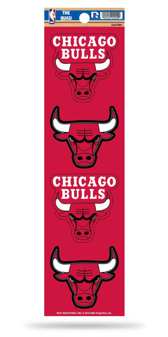 Chicago Bulls Set of 4 Decals Stickers The Quad by Rico 2x2 Inches Yeti