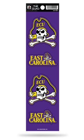 East Carolina Pirates Set of 4 Decals Stickers The Quad by Rico 2x2 Inches