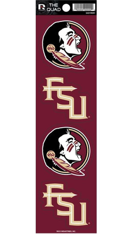 Florida State Seminoles Set of 4 Decals Stickers The Quad by Rico 2x2 Inches