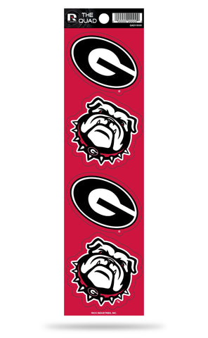 Georgia Bulldogs Set of 4 Decals Stickers The Quad by Rico 2x2 Inches