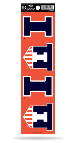 Illinois Fighting Illini Set of 4 Decals Stickers The Quad by Rico 2x2 Inches