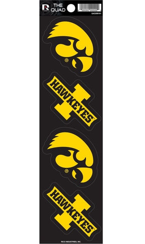 Iowa Hawkeyes Set of 4 Decals Stickers The Quad by Rico 3x2 Inches