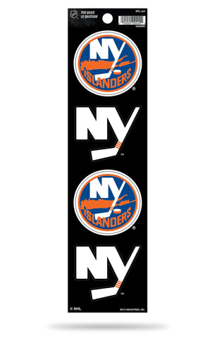 New York Islanders Set of 4 Decals Stickers The Quad by Rico 2x2 Inches