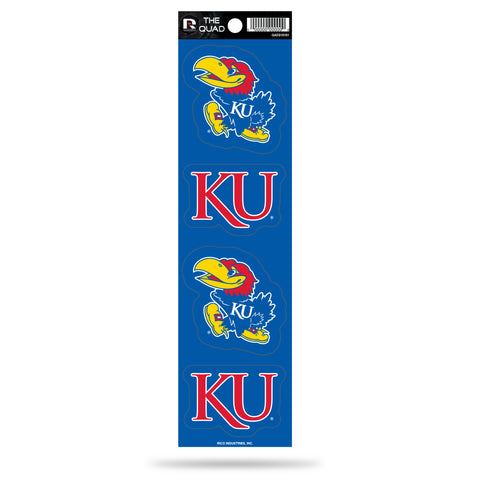 Kansas Jayhawks Set of 4 Decals Stickers The Quad by Rico 2x2 Inches Yeti