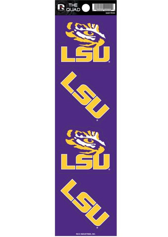 LSU Tigers Set of 4 Decals Stickers The Quad by Rico 2x2 Inches