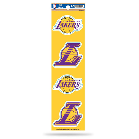 Los Angeles Lakers Set of 4 Decals Stickers The Quad by Rico 2x2 Inches
