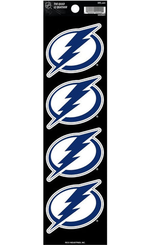 Tampa Bay Lightning Set of 4 Decals Stickers The Quad by Rico 2x2 Inches