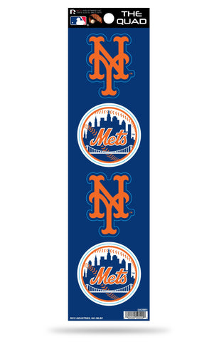 New York Mets Set of 4 Decals Stickers The Quad by Rico 2x2 Inches