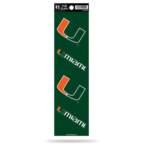 Miami Hurricanes Set of 4 Decals Stickers The Quad by Rico