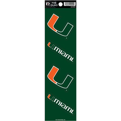 Miami Hurricanes Set of 4 Decals Stickers The Quad by Rico 2x2 Inches