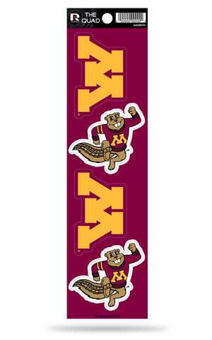 Minnesota Golden Gophers Set of 4 Decals Stickers The Quad by Rico 2x2 Inches