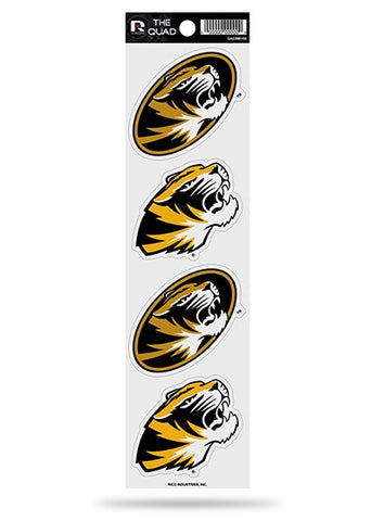 Missouri Tigers Set of 4 Decals Stickers The Quad by Rico 3x2 Inches Mizzou