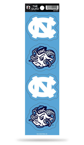 North Carolina Tar Heels Set of 4 Decals Stickers The Quad by Rico 2x3 Inches