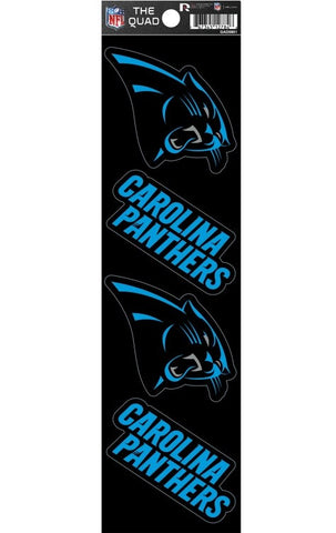 Carolina Panthers Set of 4 Decals Stickers The Quad by Rico 2x2 Inches