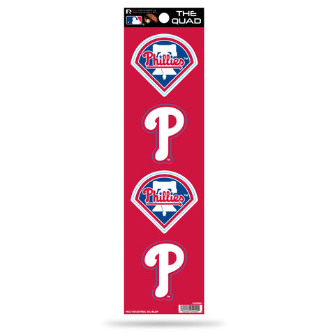 Philadelphia Phillies Set of 4 Decals Stickers The Quad by Rico 2x2 Inches