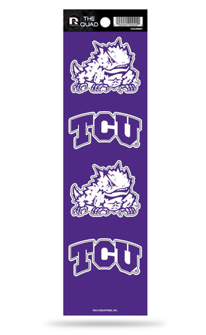 TCU Horned Frogs Set of 4 Decals Stickers The Quad by Rico 2x2 Inches