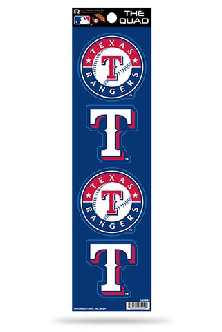 Texas Rangers Set of 4 Decals Stickers The Quad by Rico 2x2 Inches